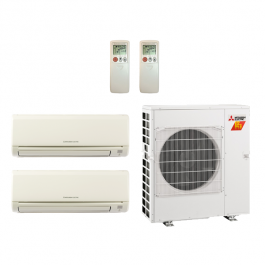 24,000 Btu 19 SEER Mitsubishi 2-Zone Ductless Mini Split Heat Pump System -  12K-12K