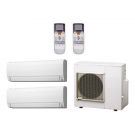 14,000 Btu 18 Seer Fujitsu 2-Zone Ductless Mini Split Heat Pump System - 7K-7K