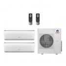 18,000 Btu 22 Seer Gree 2-Zone Ductless Mini Split Heat Pump System - 9K-9K