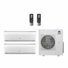 18,000 Btu 21 Seer Gree 2-Zone Ductless Mini Split Heat Pump System - 9K-9K
