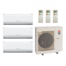18,000 Btu 20 Seer Mitsubishi 3-Zone Ductless Mini Split Heat Pump System - 6-6-6