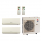 18,000 Btu 19 Seer Mitsubishi 2-Zone Ductless Mini Split Heat Pump System - 6K-12K