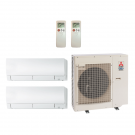 18,000 Btu 20 SEER MitsuBishi 2-Zone Ductless Mini Split Heat Pump System - 9K-9K
