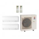 18,000 Btu 19 Seer Mitsubishi 2-Zone Ductless Mini Split Heat Pump System - 9K-9K