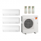 21,000 Btu 18 SEER Mitsubishi 3-Zone Ductless Mini Split Heat Pump System - 6K-6K-9K
